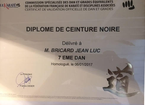diplome de jean Luc Bricard